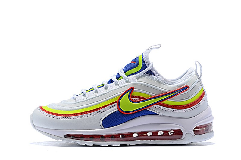 Nike Air Max 97 Women's WhiteFluorescent Green Blue Red 2018 New Running Shoes 924452 028