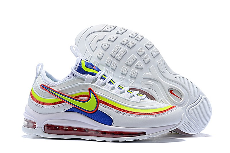 buy popular 40c56 fdd28 Nike Air Max 97 Women's White/Fluorescent Green-Blue-Red 2018 New Running  Shoes 924452-028