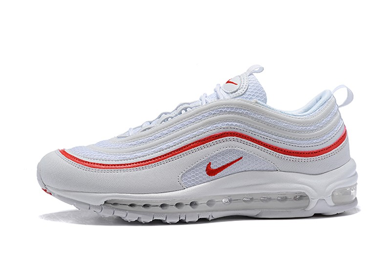 Top Quality Nike Air Max 97 Men's White/Red Running Shoes AR5531-002 Free Shipping