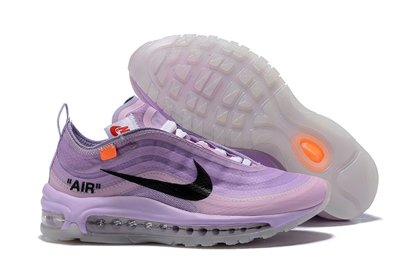 check out 2a247 96b7e 2018 New Style OFF White x Nike WMNS Air Max 97 Purple/White-Black Jogging  Running Shoes
