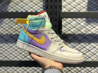 Women's Air Jordan 1 High White/Purple-Green-Orange 556298-007