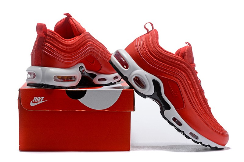 Discount Nike Air Max 97 Plus TN Men's Running Shoes Gym RedWhite Black In Stock