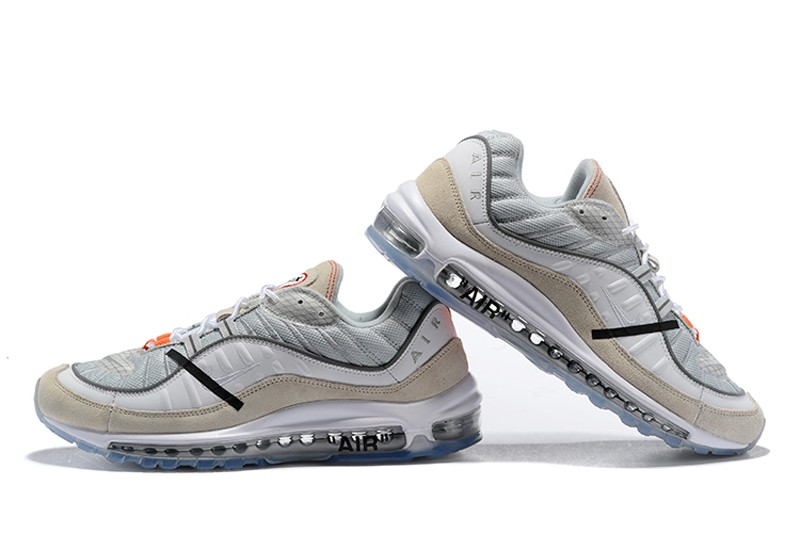 2020 Off White X Nike Air Max 98 White Wolf Grey Black For Online