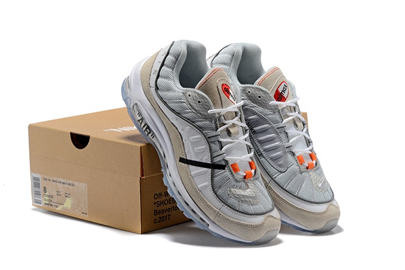 low priced 2a0e3 3a0f0 Mens And Women Off-White x Nike Air Max 98 White/Wolf Grey-Black Cushioning  Running Shoes For Online Sale