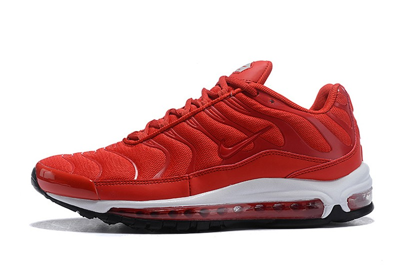 Mens New Release Nike Air Max 97 Plus Red White Black Jogging Shoes Hot Sale Sneakers Big Sale
