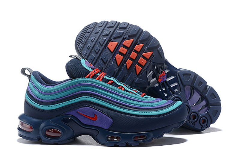 promo code 4999f c767f Nike Air Max 97 Plus TN Mens Newest Running Shoes AV7937-400 Dark Blue/Lake  Blue-Red Hot Sale