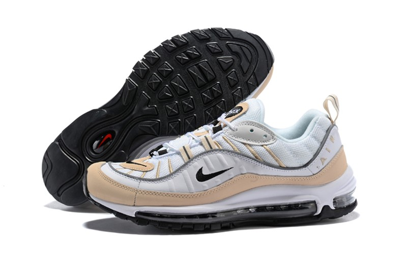 outlet store 7638a 38d14 Nike Air Max 98 Men s Running Shoes AH6799-102 White Black-Fossil-Rflct  Slvr Super Deals