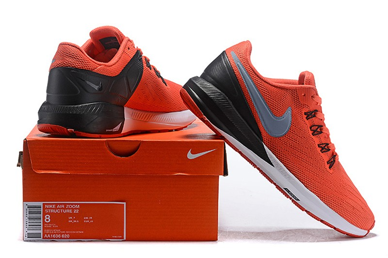 9a18e9087bcd Nike Air Zoom Structure 22 Orange Black-Wolf Grey-White Mens Newest ...