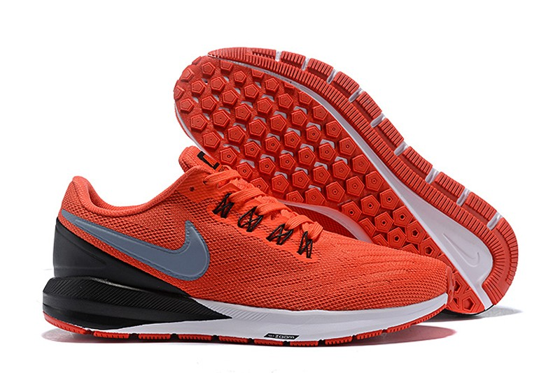 4726ed2f8166 Nike Air Zoom Structure 22 Orange Black-Wolf Grey-White Mens Newest Running  Shoes ...