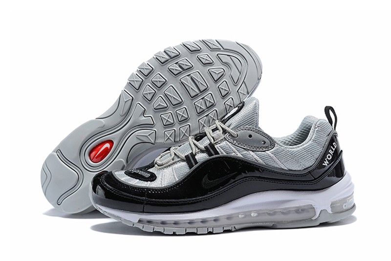 13d50337c777 Top Quality Nike Air Max 98 Men s New Style Black Wolf Grey Running Shoes  Sneakers