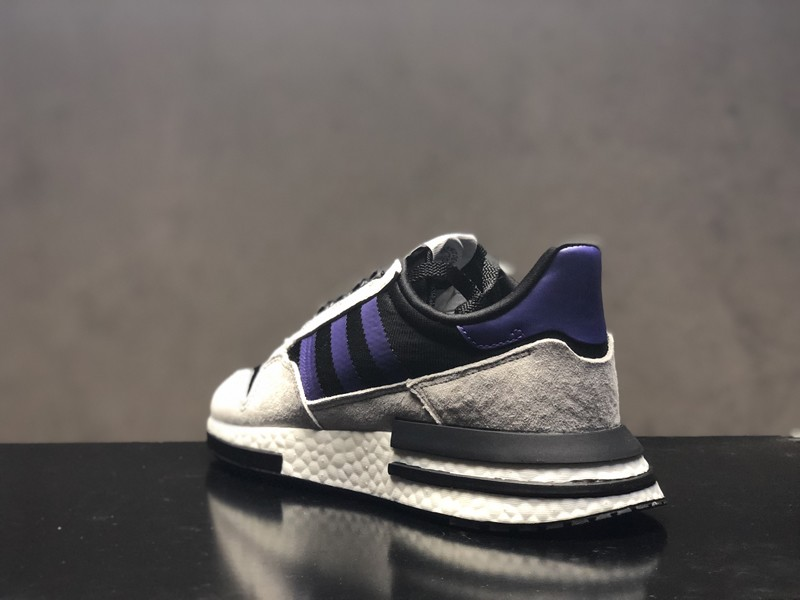 hot sales 56de0 29db4 Adidas ZX 500 RM Boost F36913 Men s Wolf Grey Purple Delicate Running Shoes  ...