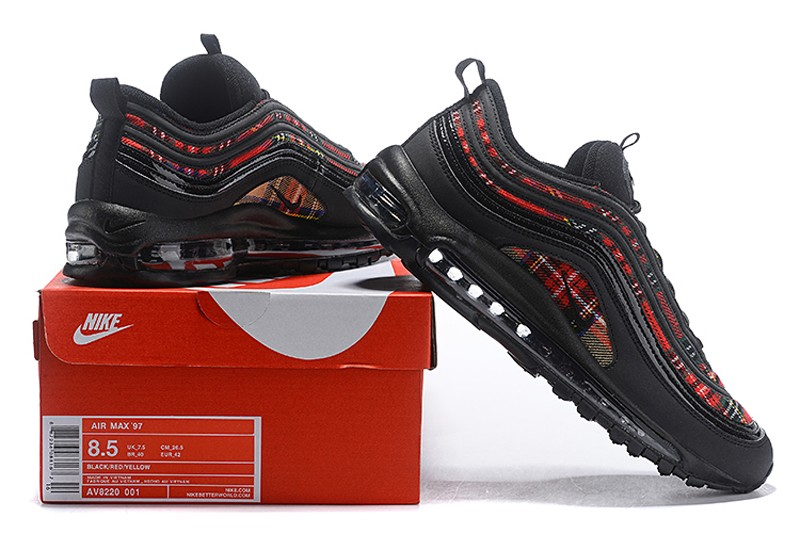 Best Sell Nike Air Max 97 Se Tartan Black University Red Amarillo Running Shoes Av8220 001 Sneakers Big Sale