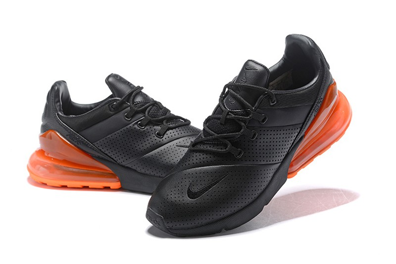 """Nike Air Max 270 Premium Leather """"Black-Orange"""" Men s Newest Running Shoes  In Stock d92ed71be"""
