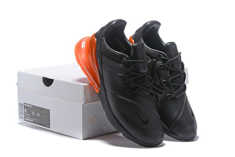 Nike Air Max 270 Premium Leather Black Orange In Stock