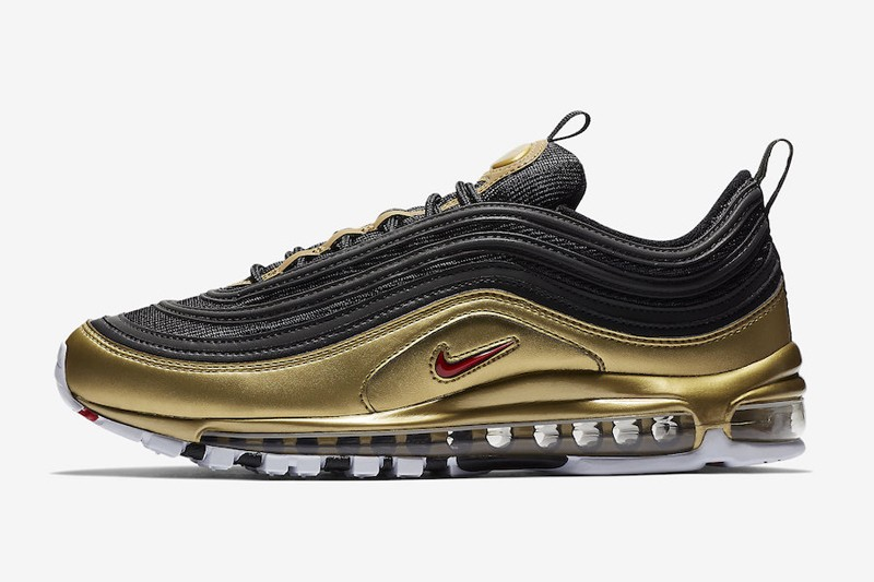 Nike Air Max 97 QS Black Varsity Red-Metallic Gold-White AT5458-002 ... 08e41a497