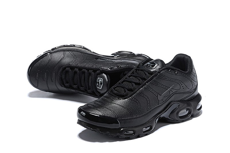 2527482394a0 Most Popular Nike Air Max Plus Premium Men s All Black Sports Life Classic  Shoes ...