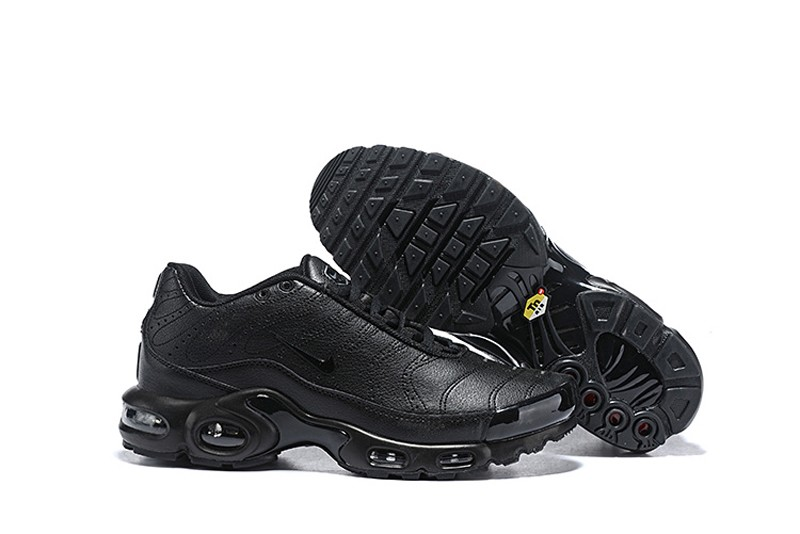 reputable site 88505 648cd Most Popular Nike Air Max Plus Premium Men s All Black Sports Life Classic  Shoes ...