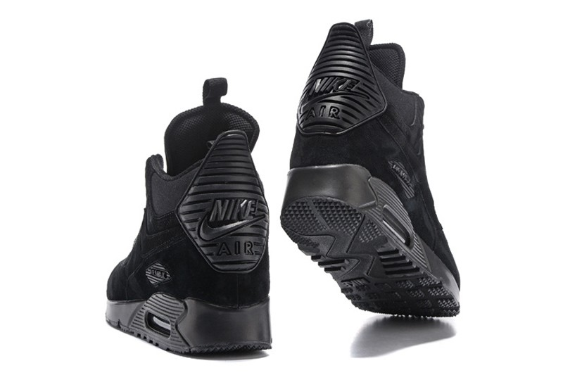 6bef38927c2 Nike Air Max 90 Men s Winter Suede Sneakerboot 684714-016 Black Sports Life  Classic Shoes ...