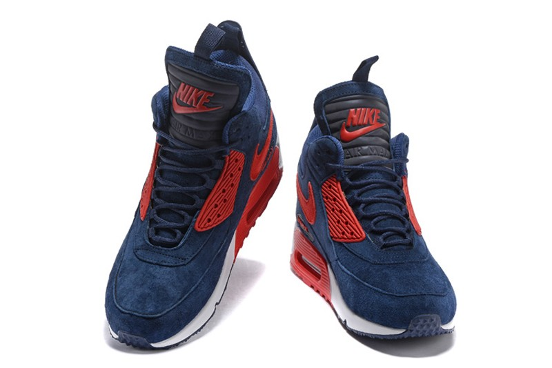 new style 7b5d6 13e18 Top Quality Mens Size Nike Air Max 90 Winter Suede Sneakerboot Dark Blue Red  ...
