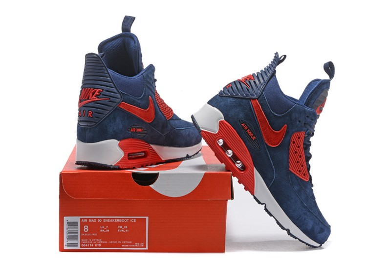 uk availability 230a4 c0779 Top Quality Mens Size Nike Air Max 90 Winter Suede Sneakerboot Dark  Blue/Red 684714-019
