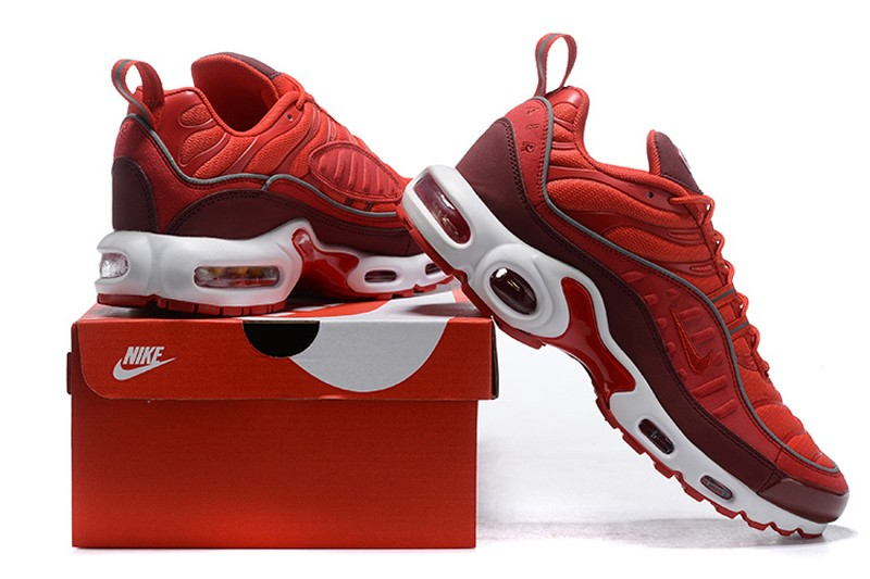 reputable site fab8e 43567 2019 New Release Nike Air Max Plus TN Men's Gym Red/White-Wine Red  Resistant Breathable Sneakers