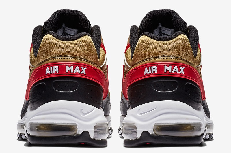 7a181bc937 Nike Air Max 97 BW Men's Breathable Sneakers AO2406-700 Metallic Gold/University  Red-White-Black
