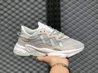 2020 Latest Adidas WMNS Ozweego Sail/Grey-Mint Green Sport Shoes FX3821