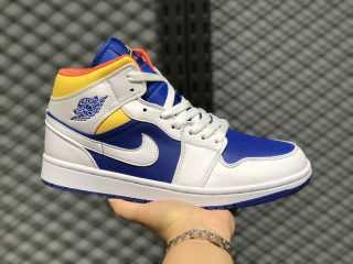 Air Jordan 1 Mid Cloud White/Navy Blue-Yellow Men Sport Shoes 554724-147