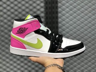 Air Jordan 1 Mid GS White/Cyber Active-Fushia CZ9834-100 Free Shipping