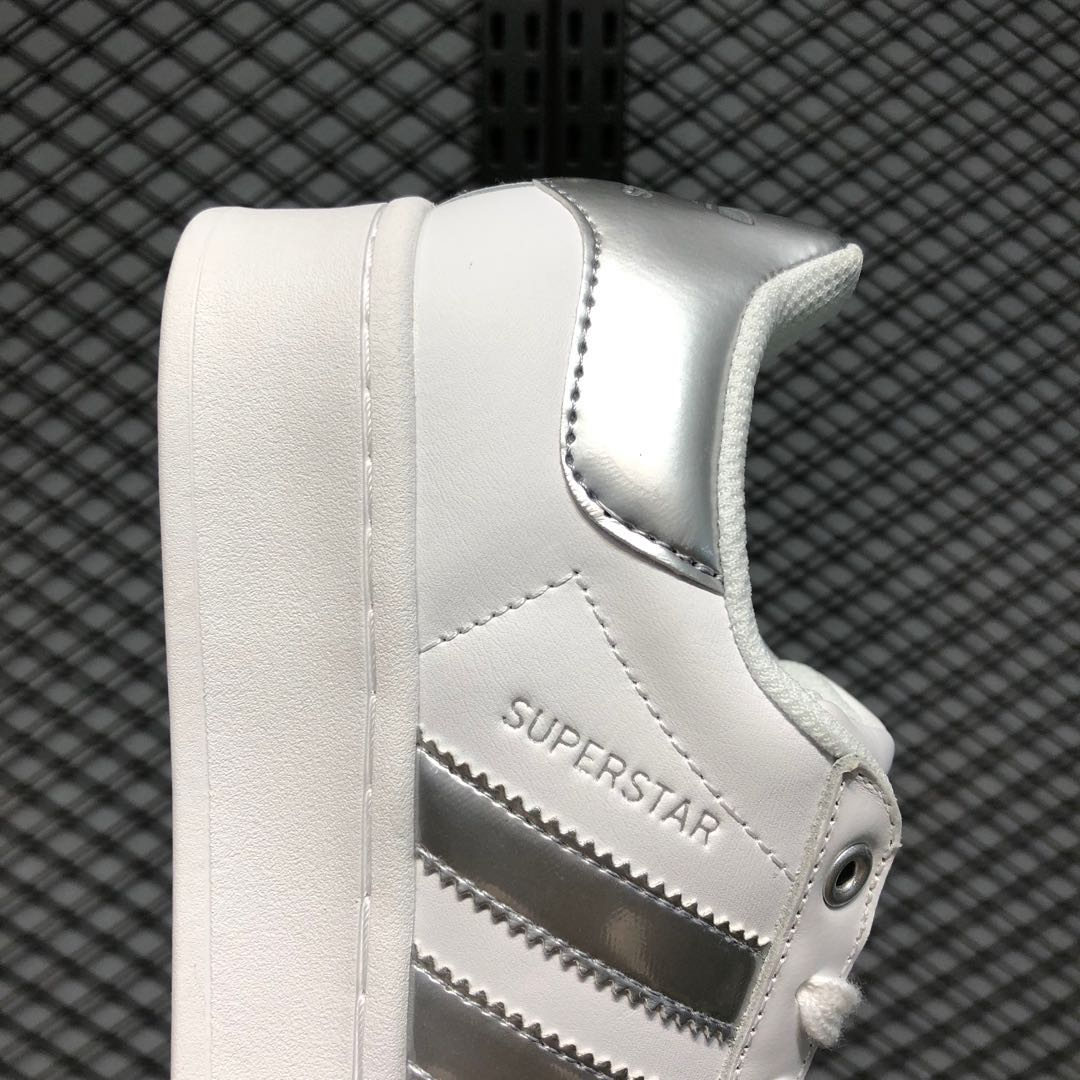 Adidas Superstar FX4274 Cloud White/Silver Metallic Trainers In Stock