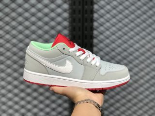 Air Jordan 1 Low Hare Grey Mist/University Red-Poison Green 553558-021