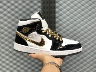 Air Jordan 1 Mid Black Metallic Gold White 852542-007 For Sale