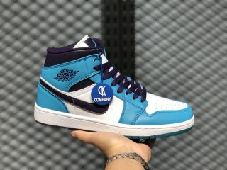 "Air Jordan 1 Mid ""Hornets"" Blue Lagoon/Grand Purple-White 554724-415"