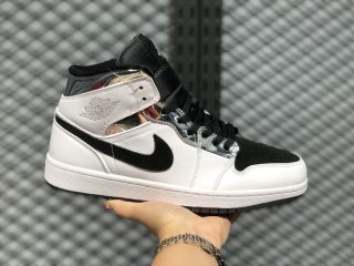 Air Jordan 1 Mid White/Silver-Black Basketball Shoes 554724-121