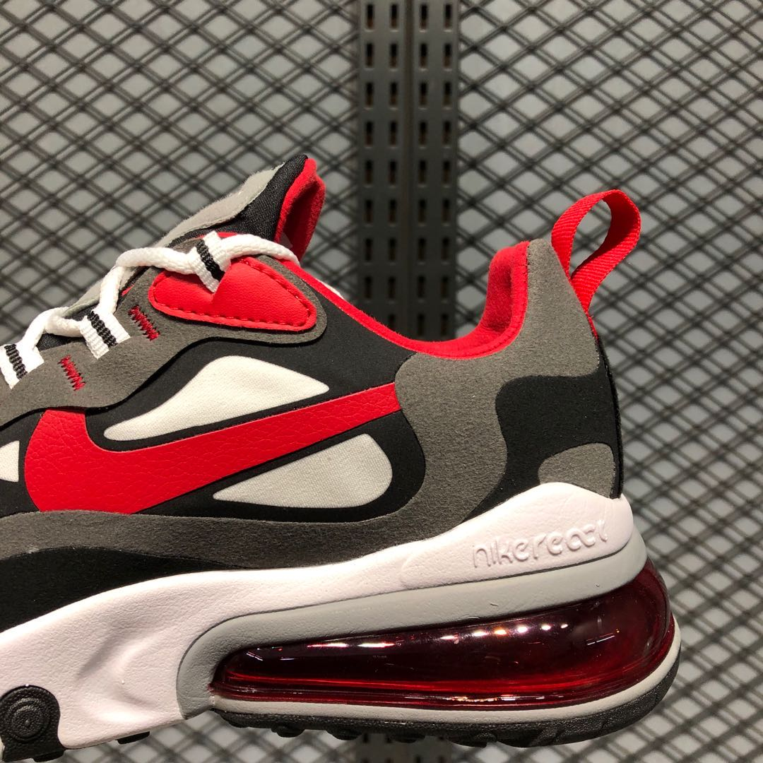 Nike Air Max 270 React Black White Iron Grey Red Best Sell Sneakers Big Sale