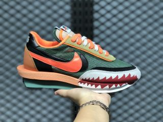 Sacai x Nike Ldwaffle White/Red/Grass Green/Orange Red On Sale BV0073-081
