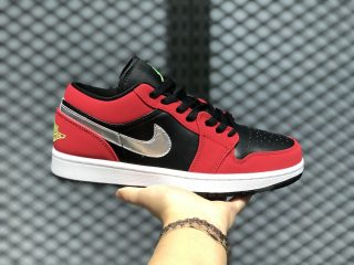 Air Jordan 1 Low Black/Green Pulse-Gym Red-White 553558-036