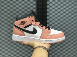 Air Jordan 1 Mid GS Pink Quartz/Dark Smoke Grey-White 555112-603