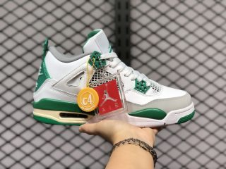 Air Jordan 4 White-Metallic Green-Sail Sneakers New Sale