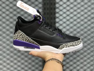 Air Jordan Retro 3 Black/Cement Grey-White-Court Purple CT8532-050