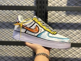 Buy Nike Air Force 1'07 SE White/Yellow/Orange/Blue AO9822-001