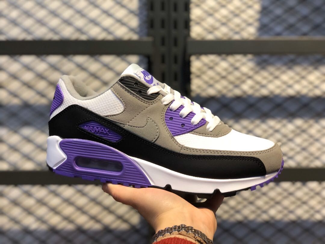 Nike Air Max 90 GS White/Particle Grey-Hyper Grape For Sale ...