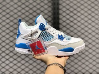 "2020 New Air Jordan 4 Retro ""Motorsports"" White/Game Royal 308497-117"
