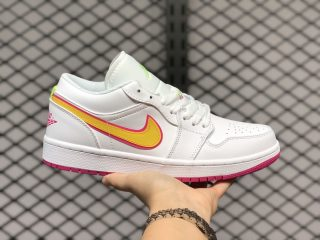Air Jordan 1 Low GS White/Pink-Yellow Shoes New Sale CU4610-100
