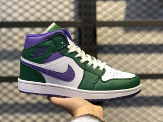 "Air Jordan 1 Mid ""Hulk"" Aloe Verde/Court Purple 554724-300"