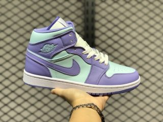 Men's Air Jordan 1 Mid Cloud White/Purple Aqua/Blue 554724-500