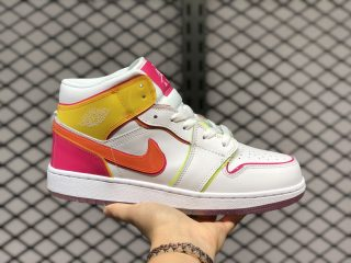 "Air Jordan 1 Mid ""Edge Glow"" White/Crimson/Pink/Lemon CV4611-100"