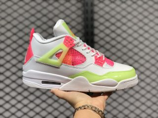 Air Jordan 4 GS White/Lemon Venom-Pink Blast Sneakers CV7808-100
