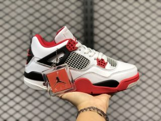 Air Jordan 4 Retro White/Black-Tech Grey-Fire Red New Sale DC7770-160