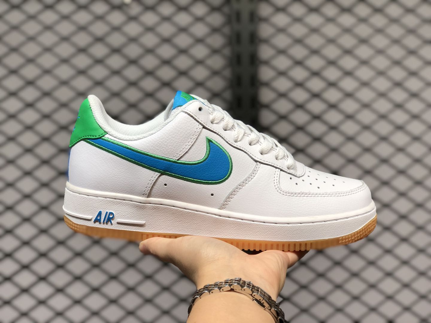 nike air force 1 low white and green